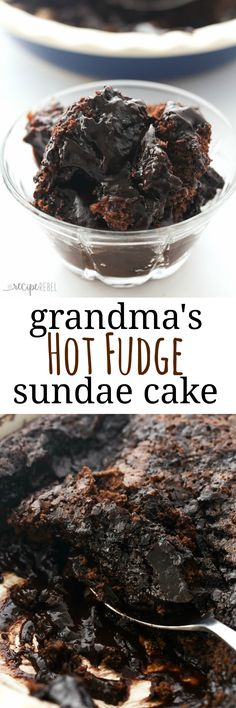 Grandma's Hot Fudge Sundae Cake is a super easy cake that makes its own hot fudge sauce as it bakes! Perfect with ice cream.