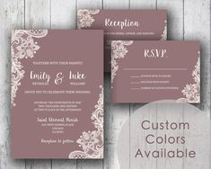 Printable Wedding Invitation PDF Set or Pick & Choose - Vintage Lace Retro Floral Flowers in Mauve (OR Your Choice in Colors!)