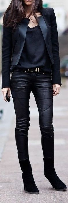 Edgy. Gorgeous. Black & Black. Layers. Materials. Match. Leather. Slim. Fit. Tall. Beauty. Woman. Fashion. Street. Proper. Clothing. Dark. Boots.
