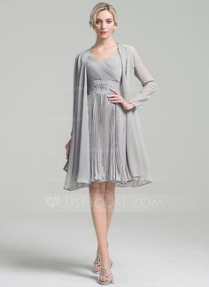 A-Line/Princess V-neck Knee-Length Chiffon Mother of the Bride Dress With Ruffle Beading Pleated - Wedding Gowns Ball Dresses, Nice Dresses, Ball Gowns, Ruffle Beading, Most Beautiful Dresses, I Dress, Chiffon Dress, Wedding Party Dresses, Special Occasion Dresses