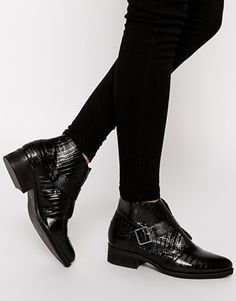 Enlarge ASOS ANSWER ME Leather Monk Boots