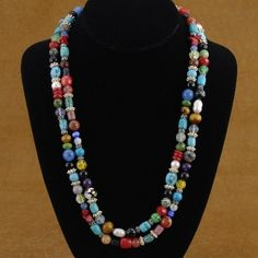 Navajo Indian Jewelry - Turquoise Coral Lapis Quartz Jasper Howlite Amethyst Necklace -Treasure Necklace - Alltribes.com