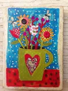 Original mixed media on a inch piece of an old door. I used, layers of acrylic paint, vintage novel pages, art papers, and buttons to create vibrate color and interest. Folk Art Flowers, Flower Art, Summer Painting, Funky Art, Arte Popular, Painting & Drawing, Painting Tips, Watercolor Painting, Whimsical Art