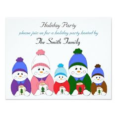 Adorable Snowman Family Holiday Party Card