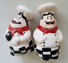 Fat Chef Salt and Pepper Shakers Kitchen Decor Holder Salt And Pepper Holder, Shaker Kitchen, Doll Stands, Salt Pepper Shakers, Kitchen Decor, Fat