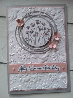 Creative on the dike: . card in cherry blossom . Poppy Cards, Karten Diy, Stitch Lines, Embossed Cards, Stamping Up Cards, Card Sketches, Sympathy Cards, Flower Cards, Scrapbook Cards