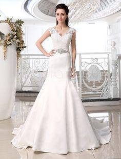 Ivory Mermaid Trumpet V-Neck Lace Chapel Train Brides Wedding Dress - Milanoo.com