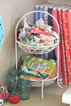 cool tiered wire basket found at a flea market to hold fabric scraps