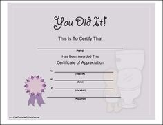 toilet training certificate
