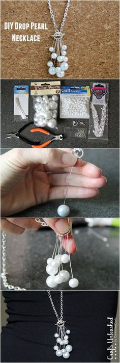 Make your own DIY drop pearl necklace with this step by step tutorial!