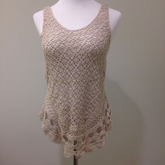 Sheer crochet tank top 55% ramie 45% cotton. Flattering and versatile.  Bust: 14.5 inches armpit to armpit. Waist: 15.5 inches across. INC International Concepts Tops Tank Tops