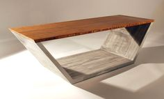 Concrete and wood coffee table.
