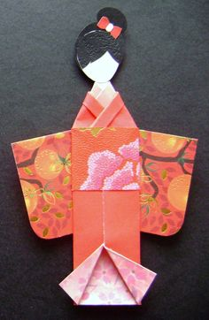 Orange Green Floral Garden Japanese Origami Kimono Doll Bookmark Asian Oriental Birthday Gifts Handmade OOAK By NightLightCrafts On Etsy