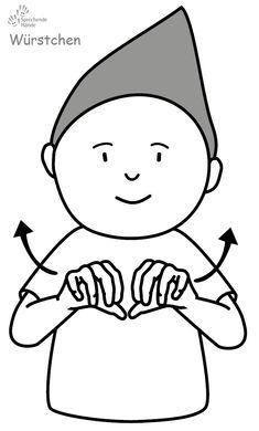 Würstchen / Wurst Kindergebärden Babyzeichen Babyzeichensprache Babygebärden Gebärdensprache GuK