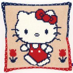 Voorgeschilderd kruissteekkussen Hello Kitty: zelf te borduren