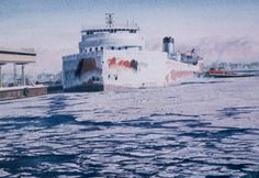 """""""Roger Blough at Season's End"""" -- Great Lakes Freighters - Art Gallery of Ed Labernik"""