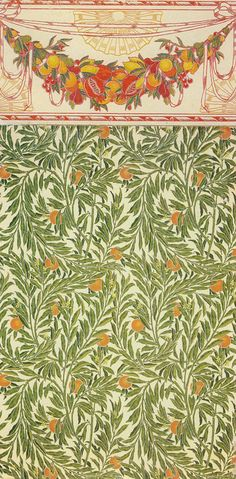 Walter Crane Fruit and Orange Tree wallpaper c1902 achome.co.uk