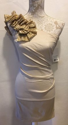 NWT Hailey Logan Adrianna Papell Homecoming Formal Sequin Cream Dress Sz 3 / 4…