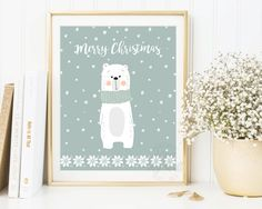 Christmas Printable, Christmas Prints, Polar Bear Print, Christmas Sign, Christmas Decorations, Christmas Cards, Merry Christmas, Wall Art by AdornMyWall on Etsy