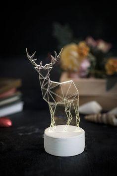 Modern Reindeer lamp, white deer lamp, table lamp, deer night light, woodland decorative lamp