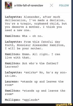 When Lafayette hits on Hamilton for you. //OMG THIS IS P E R F E C T