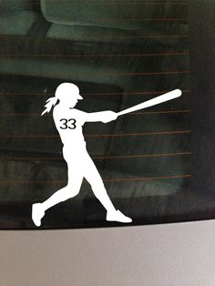 Custom Girl Softball bat white car window by GreenMountainVinyl, $5.00