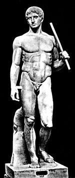 Polykleitos of Argos, was an ancient Greek sculptor in bronze of the fifth century BCE. Alongside the Athenian sculptors Pheidias, Myron and Praxiteles, he is considered one of the most important sculptors of Classical antiquity: the 4th century BCE catalogue attributed to Xenocrates which was Pliny's guide in matters of art, ranked him between Pheidias and Myron.  Pictured: Polykleitos' Doryphoros