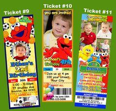 Elmo Sesame Street Ticket Birthday Party Invitations / Print unlimited. $9.99, via Etsy.