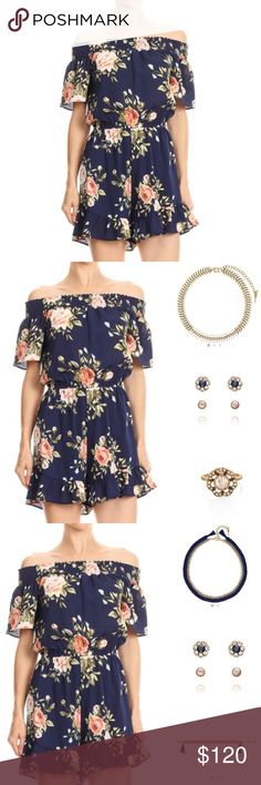 🎉 Just In!! 🎉 Floral Chiffon Off Shoulder Romper Gorgeous!!! 😍  Floral printed chiffon off shoulder romper. Smocked neckline, elastic waist, and ruffled detail. 100% Polyester   🆕 Sizes M & L.  Out of S. Drop a note if interested in S! 👇  🌸 Jewelry shown for style suggestions only! 🌸  Does not come with clothing and is available to purchase separately.  All clothing items available in my Posh boutique are available with a 10% bundle discount! 💕🛍  Reasonable offers considered. No…