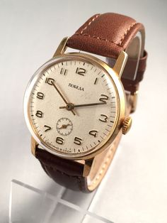 """Vintage men's watch called """"VICTORY""""( Pobeda),this lovely Soviet watch comes with high quality new leather band!"""