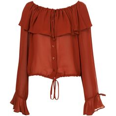 Terracotta Chiffon Cape Collar Blouse ($78) ❤ liked on Polyvore featuring tops, blouses, shirts, blusas, women, button front shirt, red ruffle shirt, sleeve shirt, flutter sleeve top and red ruffle blouse