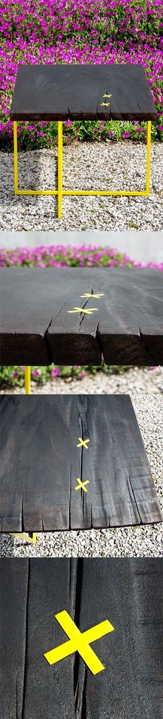 Algeri Coffee Table is handmade from recycled wood and iron.