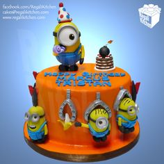 Minions Cake_Despicable Me Cake_Despicable Me 2_Birthday_Banana_Bomb_Missile_Orange_Yellow_Party_Cartoon