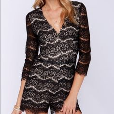 Black Lace Romper Short Shelved Black Lace Romper. Perfect for Girl's Night Out or a Super Hot Date! Other