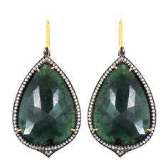 Emerald Gemstone Diamond Pave Dangle Earrings 14k Gold Sterling Silver Jewelry #raj_jewels