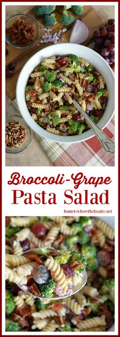Broccoli-Grape Pasta Salad! A crowd-pleasing medley of sweet, tangy, crunchy and salty with the addition of toasted pecans and bacon. Perfect for your potluck or picnic! | homeiswheretheboatis.net #recipe