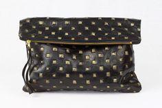 Oversized Faux Stud Leather Fold Clutch