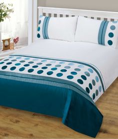 Home Interior, Beautifying Your Bed with Duvet Covers: Blue Polka Dots Patterned Duvet Covers Chic Bedroom, Hotel Bedding Sets, Teal Bedding, Bed, Home, Designer Bed Sheets, Luxury Bedding, Bedroom Design, Modern Bed