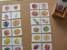 What a fun game of matching cards! Match the whole fruit to the cut fruit.