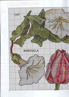 Cross stitch - fairies: Tulip and red clover fairy sampler - Cicely Mary Barker (chart- part A1)