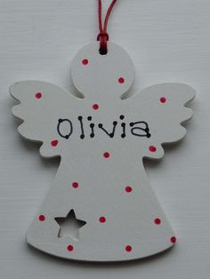 Shabby Chic Personalised  Wooden Christmas Angel Tree Decorations, Ho Ho Ho.