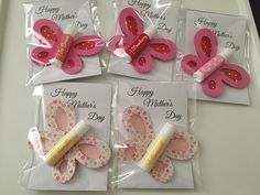 Butterfly cut outs with glued on lip gloss- made for Mother's Day stall Diy Mothers Day Gifts, Parent Gifts, Happy Mothers Day, Favours, Party Favors, Womens Day Gift Ideas, Morhers Day, Peg Bag, Craft Stalls
