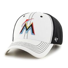 Miami Marlins Cooler MVP White 47 Brand Adjustable Hat - Great Prices And Fast Shipping at Detroit Game Gear Detroit Game, Miami Marlins, Hat Making, Caps Hats, Baseball Hats, Men Pants, Things To Sell, Fit, Products