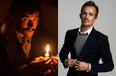 "Jesse Johnson as John Wilkes Booth in ""Killing Lincoln"" (left) and as Jesse Johnson."