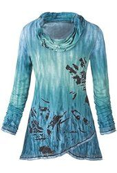 Women's Cowl Neck Tunic Top - Painted Lindsay Blue Ombre Shirt