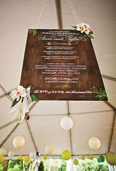 Creative Wedding Menu Displays : Wedding Invites & Stationery Gallery