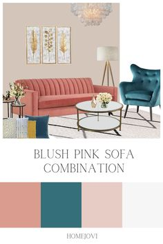 A blush pink and teal living room color combination inspiration Living Room Colour Combination, Teal Living Room Color Scheme, Sofa Colour Combinations, Blush Pink Living Room, Teal Living Rooms, Chicago Apartment, York Apartment, Living Room Panelling, Living Room Setup