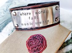 Leather Bracelet Personalized leather cuff by BlueCornerCreasigns