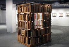Artist Jason Manley's book structure looks like a playhouse.  Bemis Center for Contemporary Arts : Residency : By Year : 2005 : Jason Manley
