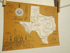 Vintage 1960s Original State Map of Texas Graphic Paper Colorful Orange Picture Paper on Etsy, $12.99